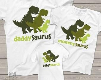 Dinosaur daddy mommy baby saurus matching THREE shirt gift set - fun new baby welcome gift MDF1-016-M3