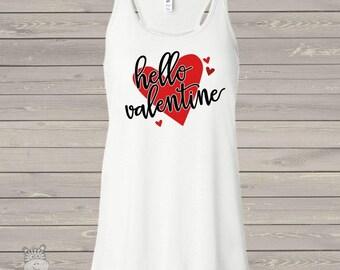 Hello Valentine heart flowy tank top - great for Valentine's Day festivities  snlv-028-f