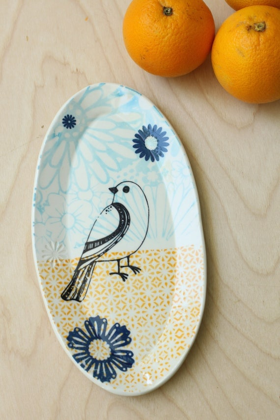 oval tray with bird