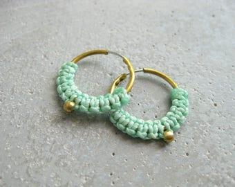 Small Brass Gold Hoops Fiber Earrings . Aqua Turquoise Micro Macrame Jewelry . Modern Textile Jewellery . Design by .. raïz ..