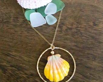 Simple Hawaiian Sunrise Shell Necklace, Handmade, Layering, 14k Gold Filled, Simply Me Jewelry Sunnie Ring Necklace, SMJNK404