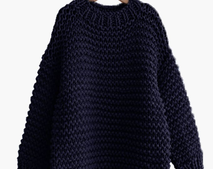 Hand knit oversized woman sweater Crew neck slouchy wool navy pullover sweater