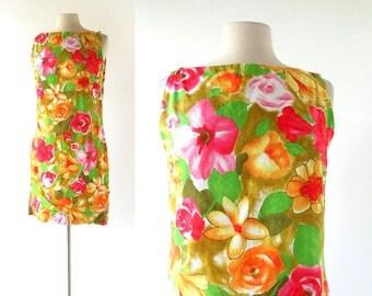 Vintage Hawaiian Dress | Floral Dress | 1960s Shift Dress | Small S