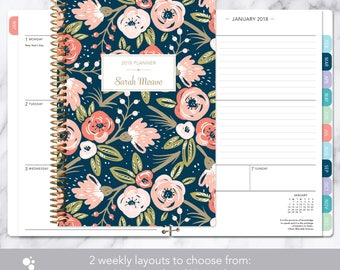 2018 planner calendar choose start month | add monthly tabs weekly student planner personalized agenda daytimer | navy pink gold floral