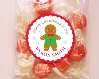 Personalized Christmas Gift Tags or Stickers - 2, 2.5 or 3 Inch Circle - DIY Printable - Gingerbread Man (Digital File)