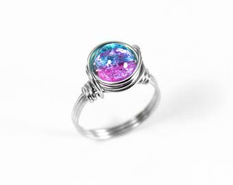 Galaxy Ring - Statement Ring - Pink and Blue Ring - Beaded Ring - Wire Wrapped Ring - Stainless Steel Ring - Two Tone Ring - Everyday Ring