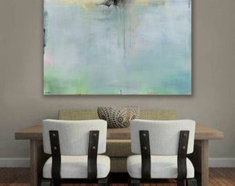Ready to Hang Abstract Landscape Canvas Print, Abstract Seascape, Coastal Art, Seascape, Fine Art Print, 36x36 Print, Large Wall Art