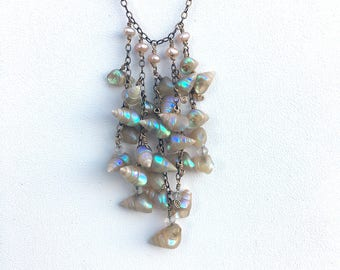 Delicate Vintage Iridescent Shell Necklace