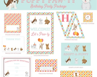 Puppy Paw-ty - DIGITAL DIY Birthday Party Package, Instant Download