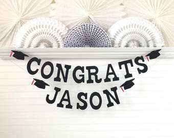 Congrats Grad Banner with Custom Name - 5 inch Letters - Graduation Banner Congrats Graduate Banner 2018 Graduation Party Decor Grad Sign