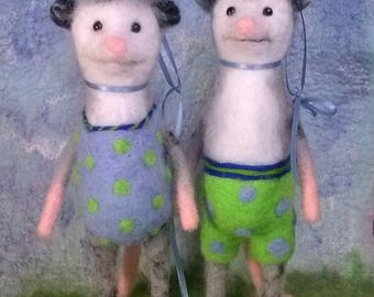 Pair of Opossum Needle-Felted Bathing Beauties