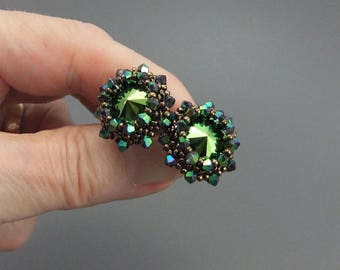 Iridescent Green Swarovski Crystal Rivoli Beaded Stud Earrings,Handmade,Sterling Silver Posts Miyuki seed beads, Swarovski Swarabeous Green