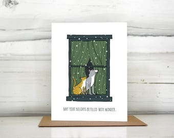 Dog and Cat in a Snowy Window Holiday Card Set