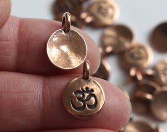 Om Charms, Antiqued Copper Plated, 2+ TierraCast Small Meditation Yoga Pendants, Lead Free Pewter, Eastern Religion Aum Mantra