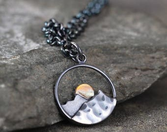 Mountain Sunrise Pendant - Sterling Silver Rustic Necklace - Hiking Camping Outdoor Nature Inspired Jewellery