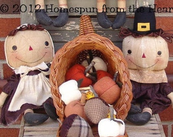 Primitive Pilgrims and Native Americans Thanksgiving pattern, Harvest Blessings, Sewing Pattern, HFTH196