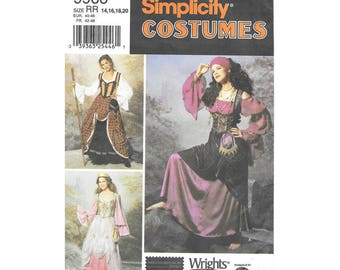Sewing Pattern Costume - Simplicity #9966 - Size RR (14,16,18,20) - Renaissance Faire Costume Sewing Pattern - 7 different costume pieces