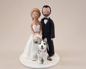 Bride & Groom with a Dog Custom Made Wedding Cake Topper