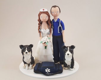 Nurse & Paramedic with Dogs Custom Made Wedding Cake Topper