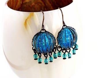 Aqua Marine Blue Chandelier Earrings Blue Green Glitter Nail Polish Jewelry Small Blue Glass Chandelier Earrings Aquamarine Dangles