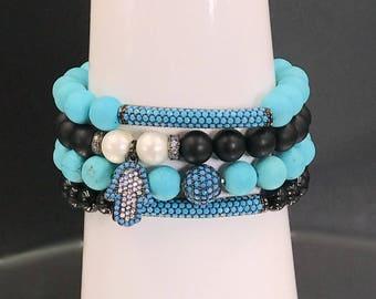 Stretch Bracelets Hamsa Hand Black Onyx Turquoise Pearl Layering Bracelet Set of 4 Stacking Bracelet Pave Turquoise CZ Charm Boho Chic