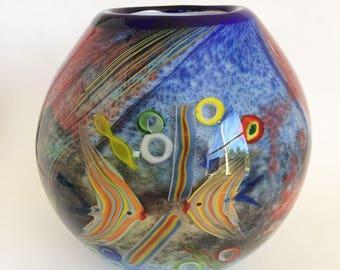 Mid Century Modern Murano Vase /  Glass  / Vintage Fish Bowl