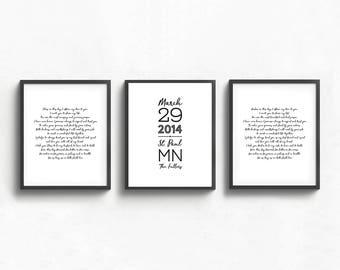 wedding vow keepsake art, personalized wedding art, first wedding anniversary gift, paper wedding gift, custom wall art, set of three prints