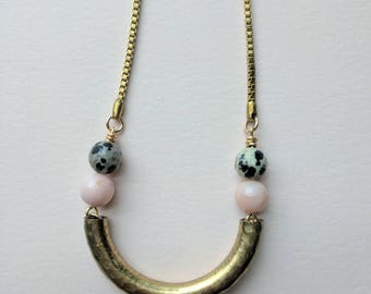 Brass curve necklace with opal and Jasper beads on vintage brass chain