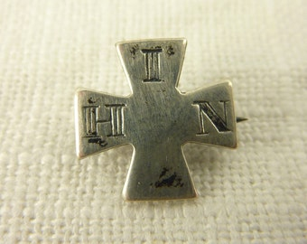 Antique 1886 In His Name Maltese Cross Lapel Pin