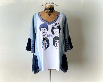 Beatles T-Shirt Plus Size Shirt Recycled Clothing DIY Band Clothing Women's Hippie Tunic Loose Fit Top Music Festival Clothes 2X 'PENELOPE'