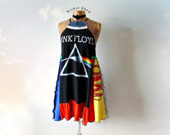 DIY Concert Tee Rocker Chic Patchwork Dress High Neck Tank Pink Floyd Clothing Fit Flare Boho Upcycled Black Sundress Eco Fashion M 'ROXIE'