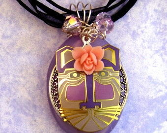 Recycled Vintage Laurel Burch ROSIE CAT Pendant Necklace- Cat Jewelry- Cat Lovers- Repurposed- Wire Wrapped Pendant, Gift for Her
