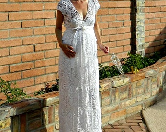Maternity Gown-Maternity Wedding Dress-Maternity Dress-Couture Gown-Crochet Lace-V Wrap Top & Skirt Pineapple Motif-Pregnant BrideCollection
