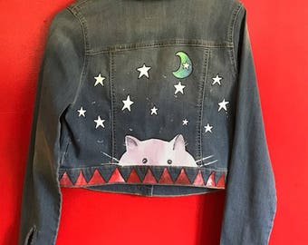One of a Kind, handpainted Fat, pink cat jacket