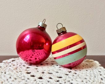 Set of Two Vintage Pink Christmas Ornaments - Shiny Brite