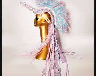 Fluttering By… Unicorn Mohawk in Pink Blue and White with Stripes, Ruffles and Ribbons