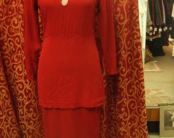 "1940's, 34"" bust, tomato red rayon crepe dress with long peplum"