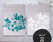 2x Linen Tea Towels Screen Printed Linen Tea Towel Screenprinted Linen TeaTowel Hand Printed
