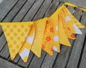 Lemon Party Decoration, MINI Banner Bunting in Yellow, Birthday or Lemonade Stand Flag Photo Prop - Lime, Citrus Fabric -- Ready to Ship