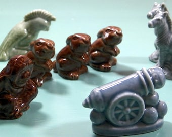 Vintage Wade's of England Signed Miniature Ceramic Glazed Figurines/Animals-Lot of 20 Critters