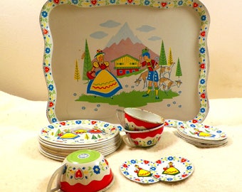 Vintage Tin/Metal Litho Ohio Art Co. Childrens Play Set/Dishes Tea/Garden Party-Bavarian Design, Tray Plus 24 Pieces Good Condition