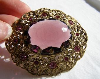 Rose Pink Glass Filigree Brooch