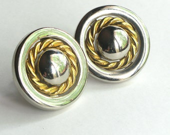 BIG Silver and Gold Circle Wreath Clip Earrings