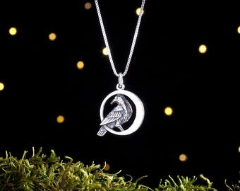 Sterling Silver Raven in the Moon Double Sided - (Pendant or Necklace)