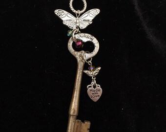 Genuine Antique Key Charm Necklace #28
