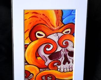 Octopus Skull - 5x7 Matted Print