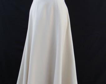 1980s Vintage 80s  Sand Wool Christian Dior Midi Skirt Drop Waist 28