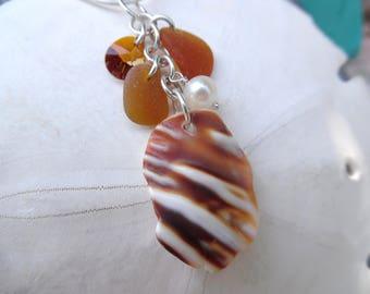Seashell Sea Glass Necklace Sea Shell Boho Beach Glass Seaglass Jewelry Sterling