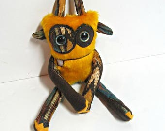 Monster Plush - OOAK Handmade Plush Monster Toy - Hand Embroidered Plush Monster - Mustard Yellow Faux Fur - Cute Weird Plush Toy Monster