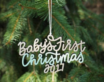 Baby's First Christmas 2017 Ornament - Choose your color! | Christmas Ornament | Baby Gift | Christmas Gift |  First Christmas | Baby